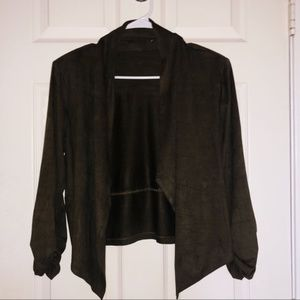 Tops - OLIVE GREEN/BROWN SWEATER